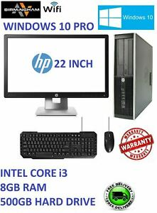 """FAST PC COMPUTER DESKTOP DELL/HP CORE i3 8GB RAM 500 GB WIN 10 WIFI 22"""" MONITOR"""
