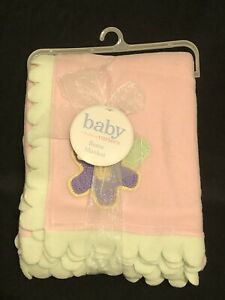 Carters Fleece Baby Blanket • Pink • Green Scallop Trim • Purple Crochet Flower