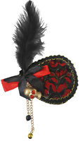 Deluxe Fancy Pirate Eye Patch Lace Skull Feathered Halloween Costume Accessory