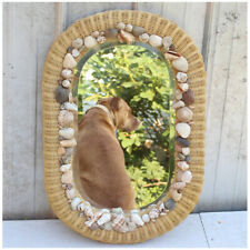 "Oval Wicker Style Sea Shell Mirror Beveled Glass 28"" X 20"""