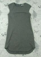 Trina Turk Gray Sleeveless ponte viscose knit curved hem shift dress women's S M