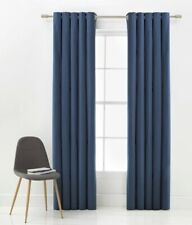 """CLEARANCE Navy Blue Thermal Blackout Eyelet Curtains 66x90"""" 168x229cm Sale"""