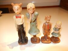 Vintage 1944 Kfs Syroco Dagwood Family Comic Strip Character Figurines