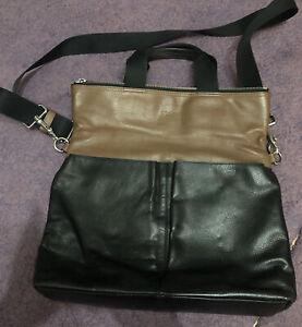 Mens COACH Black / Brown leather Flap Over messanger bag
