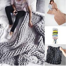 Warm Handgemacht Chunky gestrickte Decke Dick Garn Merino Knit Bett Sofa Decke