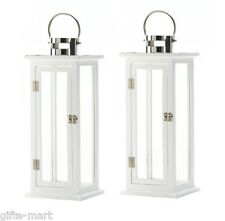 """2 large white wood & silver steel 21"""" tall Candle holder Lantern terrace outdoor"""