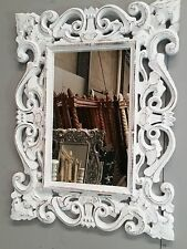 Antique Whitewash French Provincial Hand Carved Mirror Leaves Beach Luxury