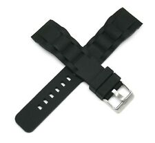 "Lucien Piccard 22MM Silicone / Rubber Watch Strap 9"" BLACK Silver Buckle NEW!"