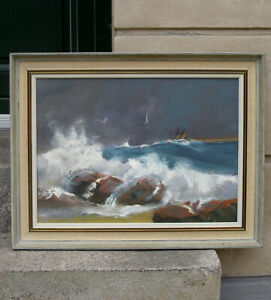 Richard Petersen (1914) Breaking waves, North sea Denmark.