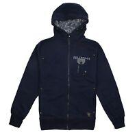 Firetrap - Mens - Zip Hoodie - Dark Blue - Logo - Sizes S,M,L,XL,XXL