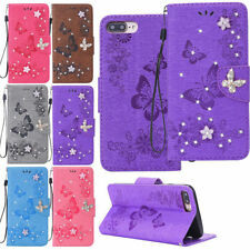 Magnetic Sparkle Butterfly Wallet Leather Case Cover For iPhone 6S 7 8Plus X