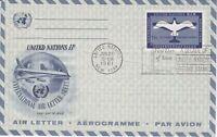 United Nations NY100 - Enveloppe 1er jour 1961 Air Letter Aérogramme 11c