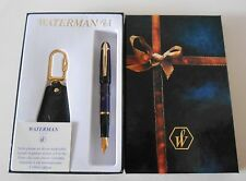WATERMAN PHILEAS BLUE PURPLE SWIRL MARBLE FOUNTAIN PEN MED PT NEW IN BOX & BONU