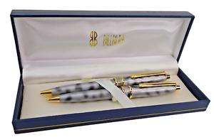 Vintage Bill Blass Pen & Pencil Set  Continental Gray Marble Gold Accents NOS