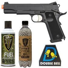 Double Bell 1911 Black Gas Blowback Pistol 340 FPS Airsoft Gun Metal Slide