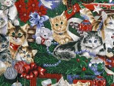 WOMENS SURGICAL_SCRUB HAT_Christmas_cats_kittens_santa hats_packages_holiday fun