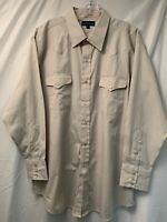 Panhandle Slim Mens Beige Striped Button Down Long Sleeve Shirt Size 17 1/2 X 34