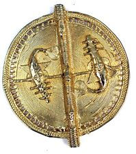Art Africain - Perle en Bronze Akan - Aspect Doré - Poisson Scie - 10,5 Cms