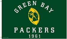 """Nfl 3' x 5' Deluxe Flag, Green Bay Packers, """"Retro 1961"""" New"""