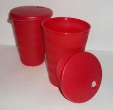 New Tupperware 16 oz Impressions Tumblers Set 2 Red DripLess Straw Seals