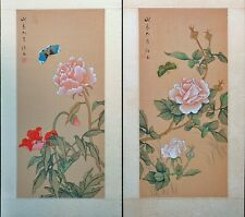 Vintage Asian Watercolor on Silk Paper, A Pair of Chinese Painting, A Spring