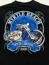 Mens Bike Week Myrtle Beach 2008 Solid Black Size M Cotton T-Shirts#97