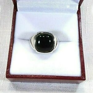 Men's Created Black Onyx Solid Sterling Silver Ring- Size US (9) AU (R 3/4)
