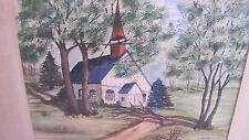 Artist C. Andrew original Oak Wood Framed with Glass Oil Painting  White Church