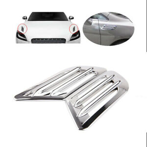 Universal Chrome Car Side Vents Air Intake Flow Fender Decoration Stickers