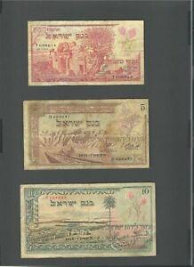 ISRAEL Banknote P 24a, P 26a, P 27a, 1955 , 500 Pruta , 5 + 10 Lirot F-VF (3)