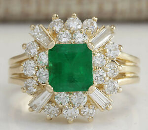 2.42 Carat Natural Emerald 14K Solid Yellow Gold Diamond Ring