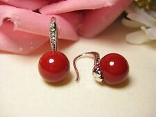 Earring White Gold 10 mm Shell Pearls Pearls Jewelry Zirconia Red Pretty