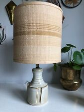 Mid century Vintage IDEN studio pottery Hand Thrown Cream Glazed lamp base
