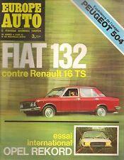 EUROPE AUTO 1972 63 OPEL REKORD II PEUGEOT 504 FIAT 132 RENAULT 16 ALFETTA 1800