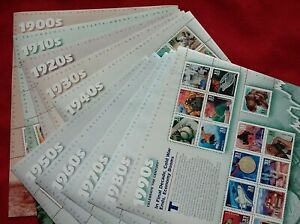CELEBRATE THE CENTURY 1900-1990. Complete 10 Sheet Set US USA Stamps # 3182-3191