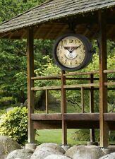 Gartenuhr Wanduhr Uhr Terasse Balkon Garten Uhr m. Thermometer Metall Antik Uhr