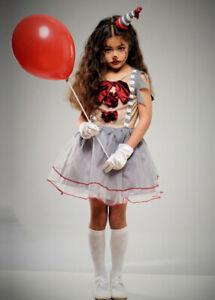 Childrens Halloween It Style Vintage Circus Clown Girl Kids Fancy Dress Costume