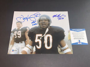 Dan Hampton Mike Singletary Chicago Bears Autographed Signed 11x14 Beckett COA .