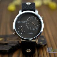New Casual Double Time Show Metal Dial Men Woman Sport Quartz  Wrist Watch Gift