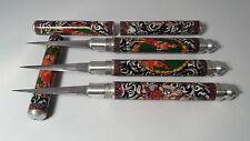 3X  FRUIT CARVING KNIFE THAI KNIVE BRASS HANDMADE TOOLS LAITHAI SOAP ART FOOD