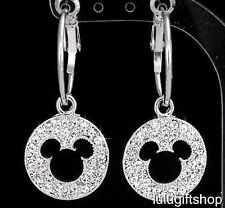 DISNEY MICKEY MOUSE WHITE GOLD PLATED HOOP DANGLE EARRINGS USE SWAROVSKI CRYSTAL