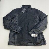 NWT XRAY Faux Leather Jacket Men's Large Long Sleeve Black Mock Zip Up Polyester