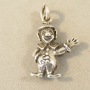 .925 Sterling Silver 3-D CLOWN WAVING CHARM Pendant Circus Happy NEW 925 BA16