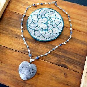 'Stormy Ocean' Heart Pendant Hemp Necklace Gemstone Crystal by GypsyLee Jewels