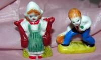 2 VTG JAPAN BISQUE PORCELAIN MINIATURES, Doll House, Xmas Putz GIRL, TENNIS BOY