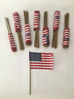 "LOT 76 Vtg 50-STAR AMERICAN US Parade FLAGS (6""x4"") 10"" Plastic Pole GOLD Finial"