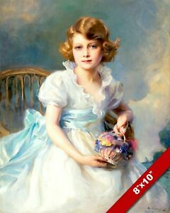 QUEEN ELIZABETH AS YOUNG GIRL PRINCESS LASZLO PAINTING ART PRINT ON REAL CANVAS