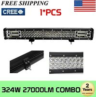 "324W 26"" Tri-row LED Work Light Bar Offroad Driving Ford Bumper Truck Boat ATV"