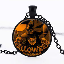 Flying Witch With Broom photo dome Black Cabochon Glass Necklace chain Pendant