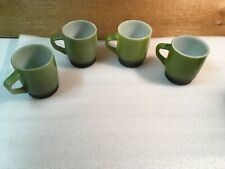 Set of 4 Vintage Avocado Green & Brown Fire King Anchor Hocking Coffee Cups Mugs